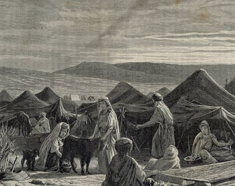 Our encampment in the evening, instead of a large douar, Tunisia 1887 - Old Antique Vintage Engraving Art Print - Goat, Weavers, Milking
