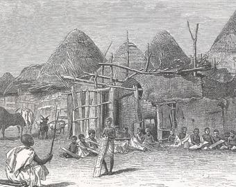 Somalia 1885, School of the Koran, Old Antique Vintage Engraving Art Print, House, Straw, Roof, Thatched, Child, Boy, Sitting, Studying