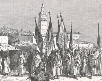 Tunisia 1888, Cortege of the Feast of Sidi Reiss in Medjez el Bab, Old Antique Vintage Engraving Art Print, Town, Stepped, Building, Dome