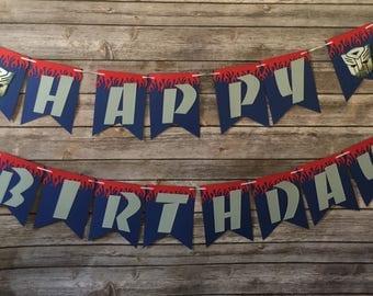 Transformers Birthday, Optimus Prime Birthday, Boy Birthday, Birthday Banner, Transformers Birthday Banner