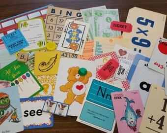 Fun and Bright Ephemera  Paper Pack / 30+ Pieces / Vintage & New / Collage pack/Paper ephemera lot/ junk journal pack / pen pal lot