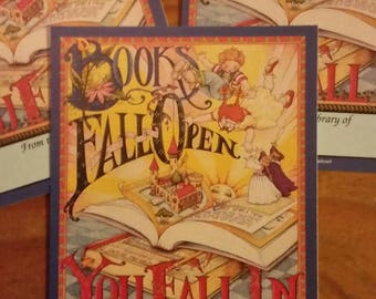 """Vintage Antioch Book Plates - """"Books Fall Open You Fall In""""  - Mary Engelbreit - Set of 3 Bookplates"""