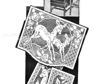 Alice Brooks PDF Crochet Pattern, Reigndeers Chair Back Set in Filet Crochet