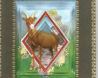 Card Zodiac, religious, 3D diamond category Zodiac: Capricorn - birthday horoscope, astrology, sign, Capricorn