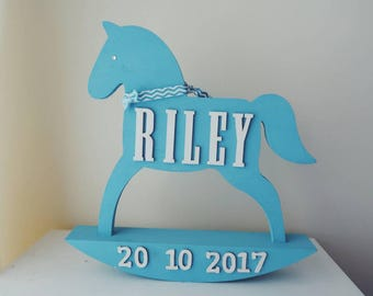 Rocking horse baby etsy wooden personalised rocking horse personalised gift boy girl name baby negle Image collections