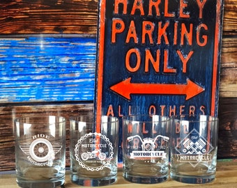 Motorcycle Whiskey Glasses, Gifts for Men, Gift for Biker, Biker Gift, Motorcycle Gift, Scotch Glasses, Barware, Engraved Whiskey Glass