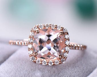 Morganite Rose Gold Engagement Ring 925 Sterling Silver Cushion Cut CZ Diamond Halo Half Eternity Wedding Women Promise Anniversary Gift Set