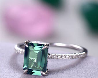 Emerald Cut Alexandrite Engagement Ring Solitaire White Gold 925 Sterling Silver Half Eternity Wedding Band Bridal Anniversary Gift for Her