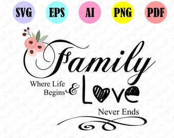 family quote svg,love quote printable,family forever,family where life,family where life begins and love never ends decal file,digital file