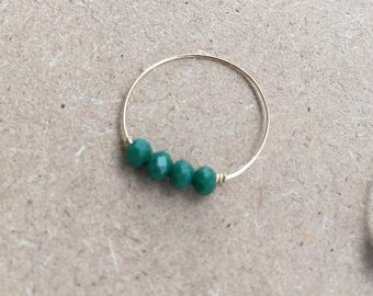 Glass beads and gold filled ring