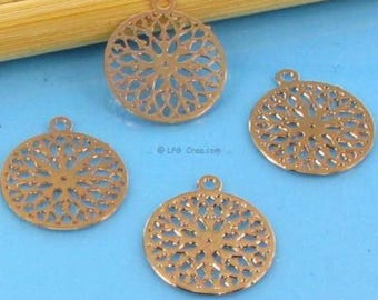 "4 ""Round stylized"" prints - pink - 12mm diameter copper # P12"