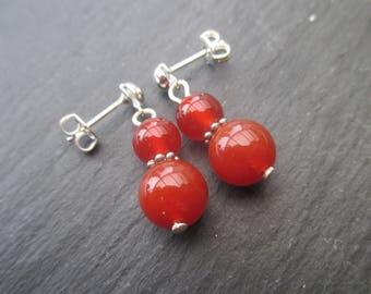 Stud Earrings in carnelian - ref 1172