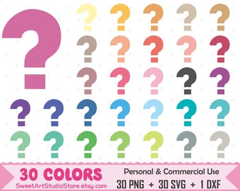 Question mark Clipart, Question mark planner SVG Silhouette Cricut Cut File Commercial Use (Png Svg Dxf)