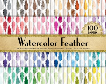 100 Watercolor Feather Papers 12 inch,300 Dpi Planner Paper,Commercial Use,Scrapbook Paper,Rainbow Paper,100 Boho Papers,Watercolor Wedding