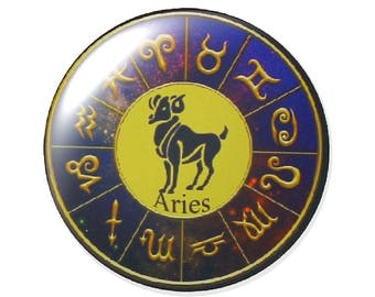 Set of 2 cabochon Zodiac astrological glass 30mm round
