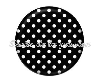 1 cabochon 25mm, vintage, black and white polka dots round glass