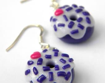 Small purple donuts heart earrings