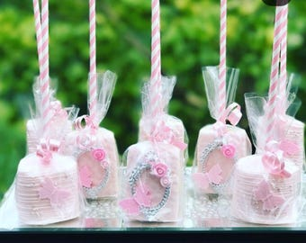 Enchanted Forest Themed Chocolate Covered Marshmallow Pops, Butterfly Marshmallow Pops, Princess Chocolate Covered Marshmallow Pops
