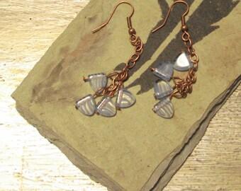 Periwinkle purple glass dangle drop earrings