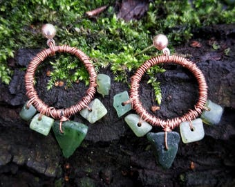 Geometric Copper and Jade Earrings