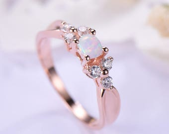 Opal Engagement Ring 14k 18k Rose Gold 925 Sterling Silver Cluster CZ Cubic Zirconia Diamond Women Wedding Rings Promise Anniversary Gift