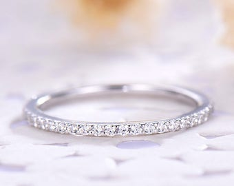CZ Diamond Wedding Band 925 Sterling Silver White Gold 14k 18k Full Eternity Micro Pave Bridal Stacking Ring Minimalist Matching Promise