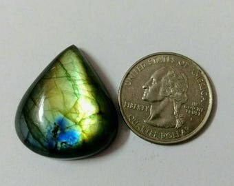 29.71x26.33 mm,Pear Shape Labradorite, Green Blue Fire Labradorite ,Pendant Cabochon,Wire Wrapped Cabochons,Super Shiny,Labradorite Cabochon