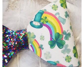 St Patricks Day Bow - Irish hair bow - Ireland Bow -Glitter Hair Bow, Hair Bow Clip -Hair bow for girls -St Patricks day - Paddys Day Bow