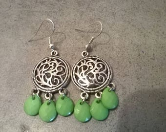 Handmade earrings with drops Green