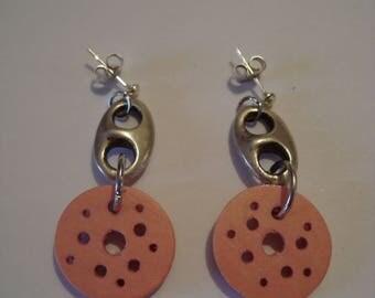 Pink earrings with metal