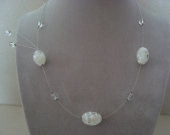 Original necklace white and transparent glass beads