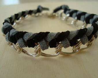 Black and gray String Bracelet double ring