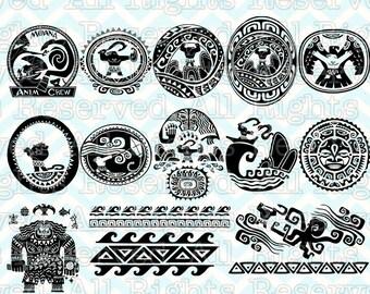 Maui tattoos etsy for Maui tattoo stencil