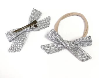100% Cotton - Simple Hand Tied Bow - Black and White Crosshatch