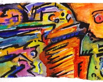 Electric One - Abstract watecolor painting print - Electric Hieroglyphic
