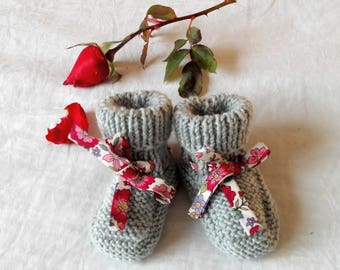 Liberty Ribbon and thick grey wool baby shoes