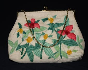Vintage Handbag,  Floral Vintage Gold Tone Clasp and Chain Strap Embroidered, Vintage Wallet, Vintage Handbag
