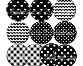 Set of 10 20mm glass hearts polka dots, stripes, ref ZC136 cabochons
