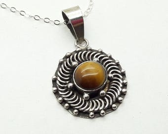 Tiger Eye Sterling Silver Necklace    /Vintage Pendant/Free Shipping US/Birthday   /Christmas/Valentine/Mother/Gift for Her