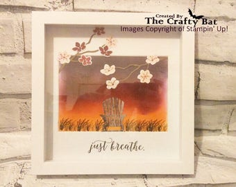 Relaxing Scenery Frame, Retirement, Gift, Frame, Handmade, Relax, Scene, Just Breath, Calm, Decor, Meditation, New Home, House Warming