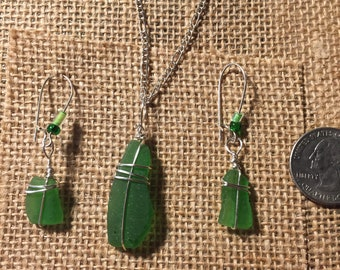 Sea glass necklace and earrings set.
