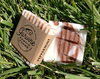 "Peppermint Soap - ""Breathe Easy"" Soap - Hand crafted Coconut Oil Bar - 3 oz."