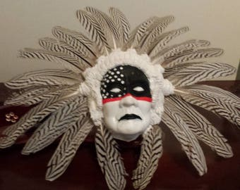 Native American Headdress scculpture painted