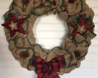 Winter Burlap Wreath, Christmas Burlap Wreath, Burlap Wreath, Front Door Wreath, Modern Wreath, Star Wreath, Plaid Wreath, Rustic Wreath