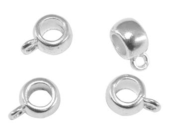 10 round bails silver-plated clip charm 11 x 8 mm bd024