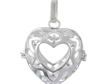 x 1 pendentif cage de Bali Bola Mexicain forme coeur pour bille d'harmonie Bébé argenté 3,7 x 2,7 cm P