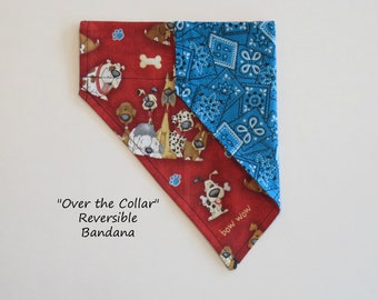 """Pet Bandana """"Good Dog meets Western Blue"""" Over the Collar Pet Bandana, Slide on Bandana, Reversible Bandana, Dog Bandana, Cat Bandana"""