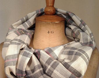 Cheich, écharpe, étole, foulard en lin-polyester.