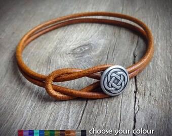 Celtic Leather Bracelet, Metal Button Antique SILVER Tone