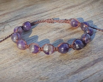 Shamballa macrame bracelet, Amethyst bracelet